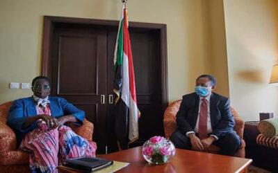 حمدوك يستقبل نائب رئيس دولة جنوب السودان د. ريبكا قرنق