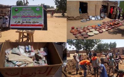 """بـ""""الشوبش"""" النازحين يشاركون في نفرة تأهيل مدرسة السلام بمخيم ابوشوك"""