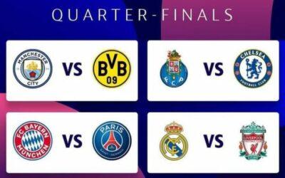 نتائج قرعة الدوري ربع النهائي من دوري أبطال أوروبا
