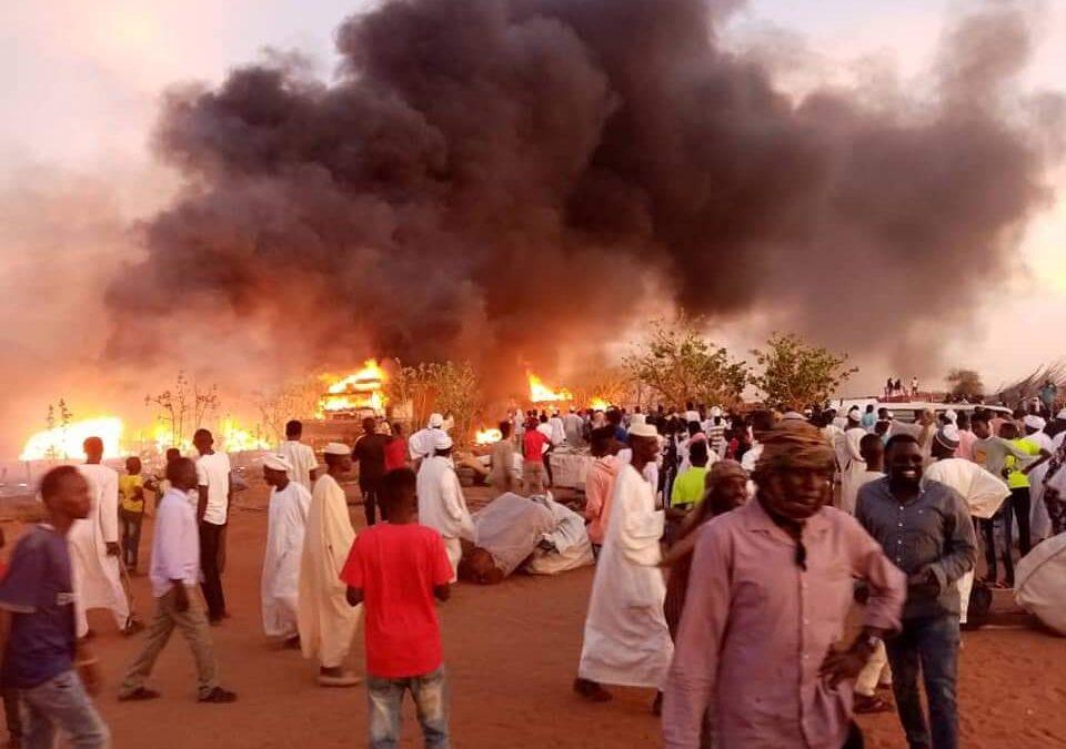 حريق يقضي على 15 محل تجاري في المالحة بشمال دارفور